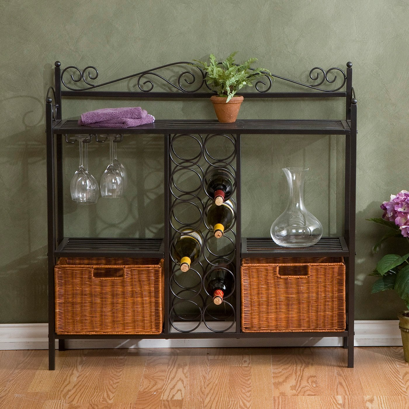 Get Quotations · Cecelia Bakers Rack With Wine Storage, Gunmetal Gray