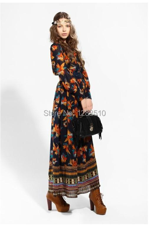 0a973440d3 Get Quotations · 2014 Europe fashion flower print long dress women s long  sleeve bohemia chiffon dress maxi dress
