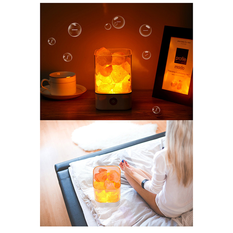 Personalizado Venda Quente Rosa Hymalayan Sal China Lâmpadas LED Night Light Para O Ar Purify 7 Cores para Amazon