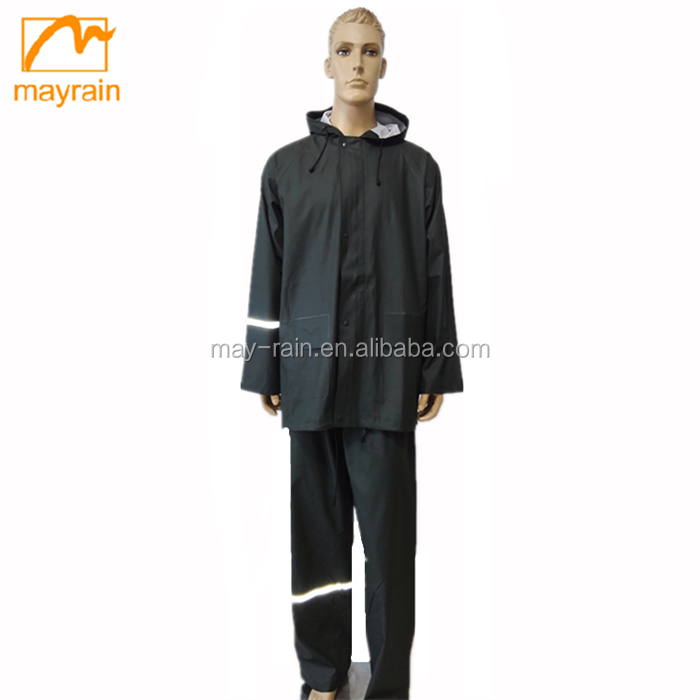 Top Quality PU Fabric New Men's Rainsuit with Reflector