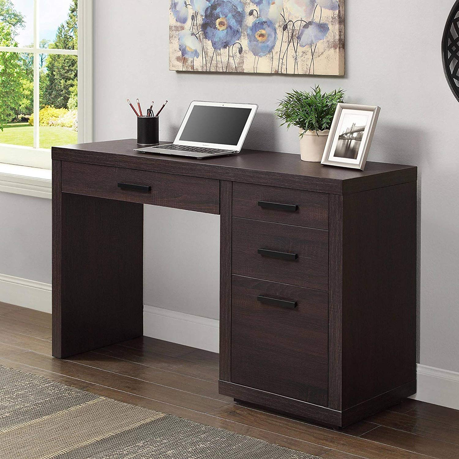 Writing Desk, Espresso Finish, 3 Drawers, Metal Hardware, Black Powder Coated Finish, Classic Style, Contemporary, Office, Bundle with Our Expert Guide with Tips for Home Arrangement