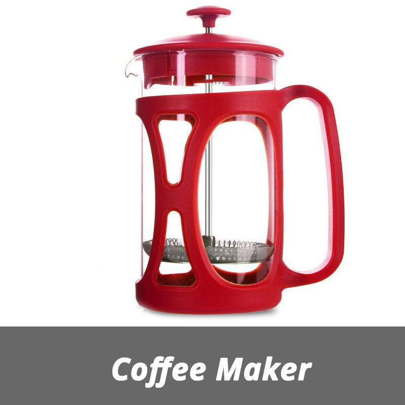 Бразильский Френч-пресс для приготовления кофе, 304 фильтр из нержавеющей стали, термостойкий стеклянный горшок, 20 унций, 600 мл, красный(Китай)