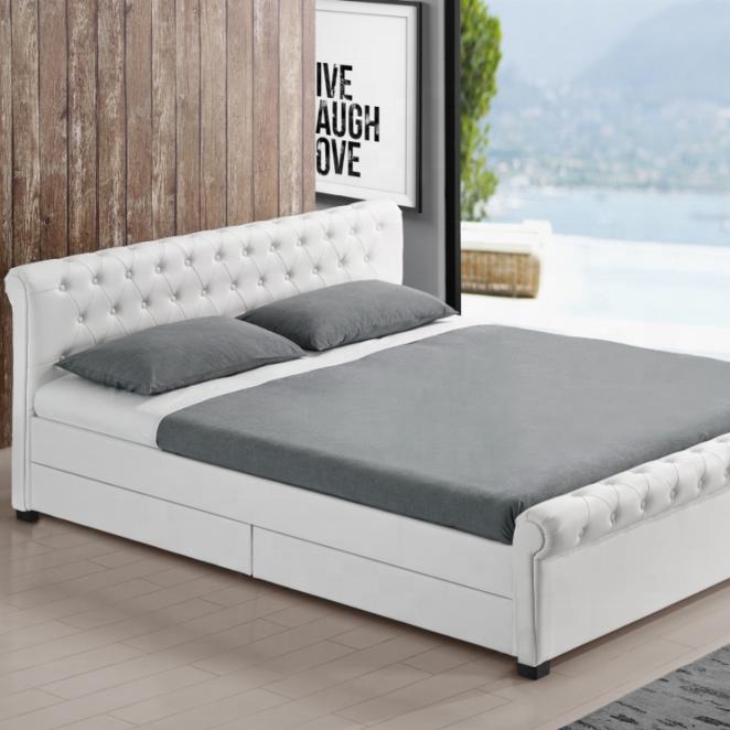 Super King Size Bed Black Leather