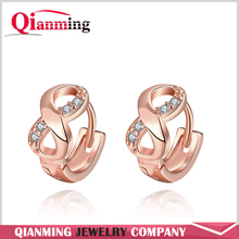 18K Gold Plated Women's Gift Infinity Knot Twisted Huggie Round Hinged Hoop Cubic Zirconia Earrings for Lucky Jewelry