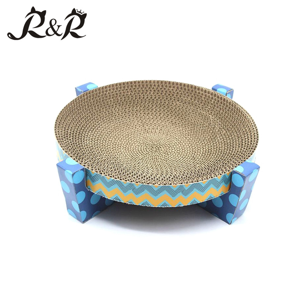 Hot Wholesale Superstar Four- Feet Based Corrugated Fancy Pet House PaperCool Cat Bed RCS-8001