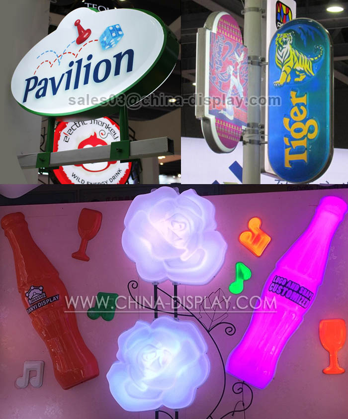 Double side / single side custom shape wall hanging circular acrylic / ABS thermoforming led blister light box