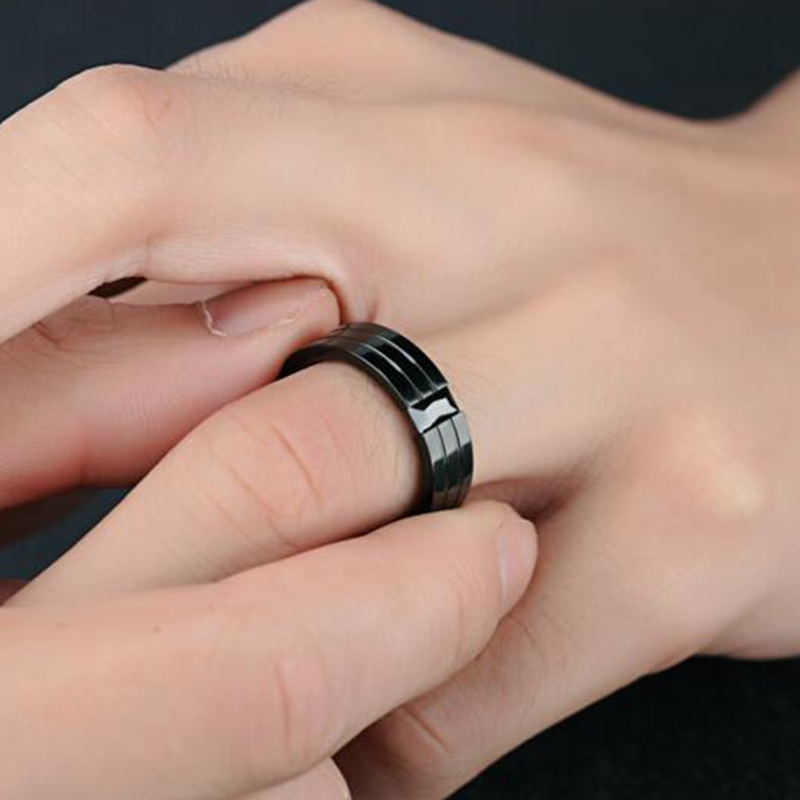 36129bde1 6mm width black onyx jewelry mens black onyx ring stainless steel cool  black diamond rings for