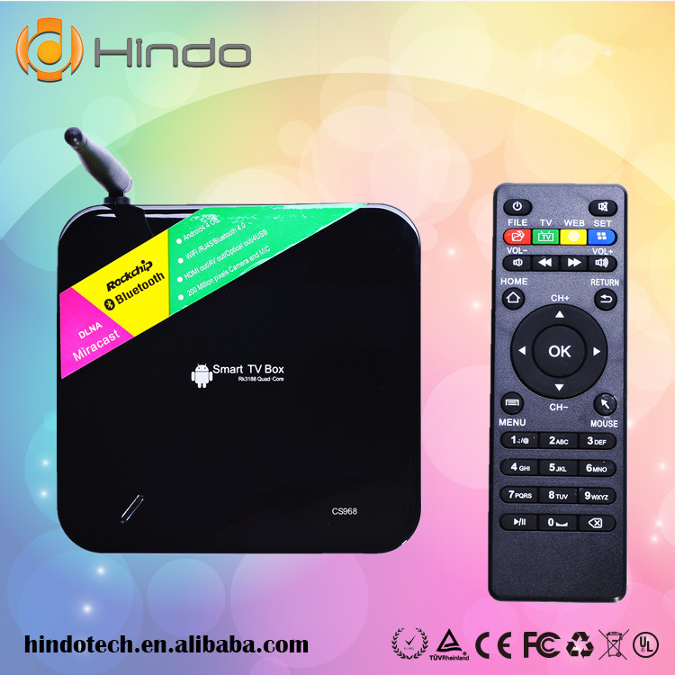 Android 4.4 TV box CS968 Quad Core 2GB/8GB google play store download On-line Video/Audio player smart tv box
