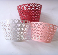 White,Pink,Red Heart laser cut pearl paper cupcake wrapper for birthday wedding valentines day decoration