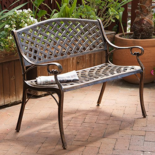 Copper Cast Aluminum Bench Is Weather Resistant and Rust Proof, Making It a Prime Piece for Any Outdoor Living Area, Porch, Patio, Garden, Deck or Balcony. This Stylish Garden Bench Creates a Perfect Park Setting in Any Backyard!