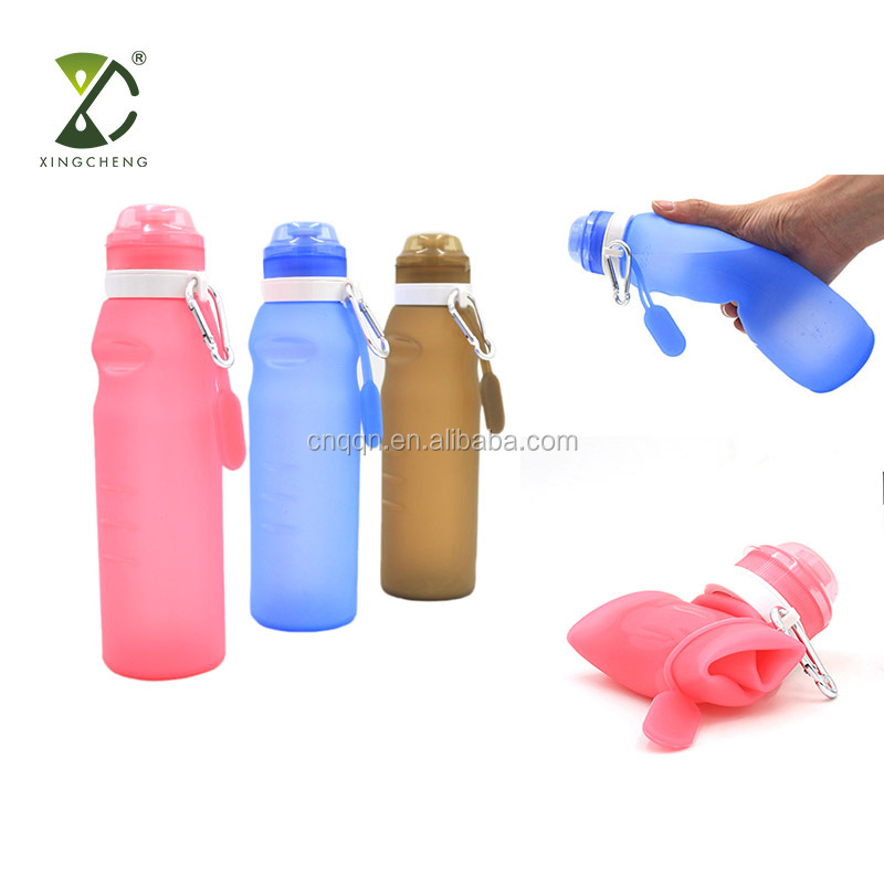 20oz 600ml BPA Free Leak Proof Silicone Collapsible Water Bottle Foldable Sports Bottle фото