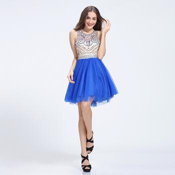 ff0ff2b14 Real azul con cuentas de vidrio de vestido de cóctel para las mujeres  gordas en ropa