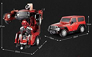 Remote Control Car,SmartQ [Car to Robot Transformation] [Transforming Car Robot] Remote Control Car Robot Toy [Rechargeable Battery Included][Remote Batteries Not Included][Jeep wrangler]Red