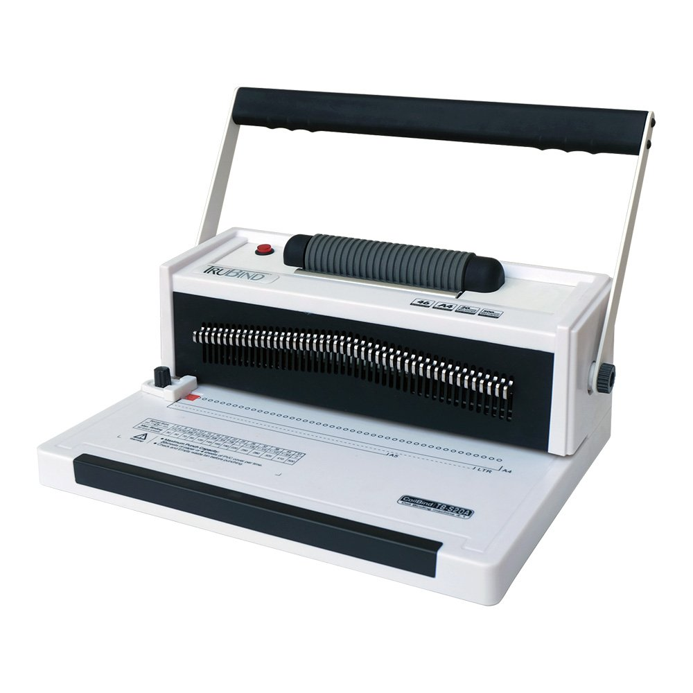 TruBind Coil-Binding Machine - With Electric Coil Inserter - TB-S20A - Professionally Bind Books and Documents - Office or Home Use - Adjustable Hole-Punching and Paper-Size Settings
