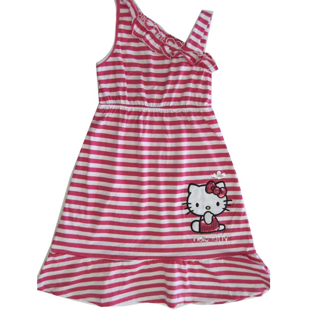 7a8d8e470 Get Quotations · Hello Kitty Little Girls Fuchsia White Striped One  Shoulder Dress 4-6X