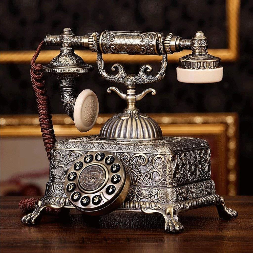 WXL Metal Dial Antique Telephone Retro Cloth Rope European Living Room Bedroom Retro Fixed Phone Mechanical Ringtones (Design : Silicone dialpad)