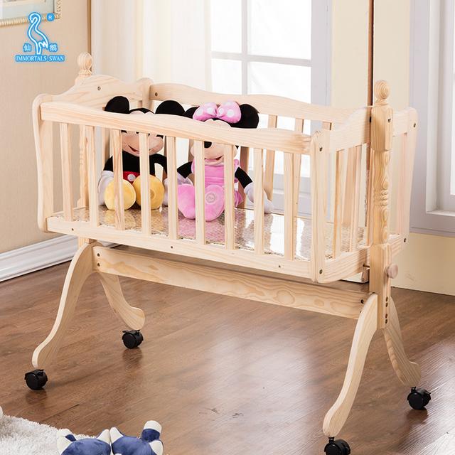 Wholesale Eco Wooden Newborn Baby Furniture Cradle Bed Cot Baby Swinging  Crib