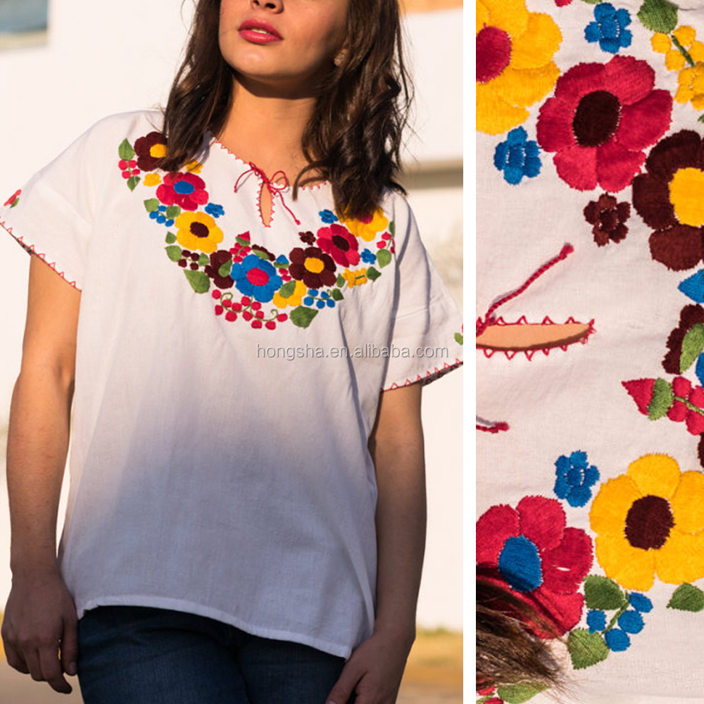 Latest Mexican Clothing Flower Embroidery Blouse Back Neck Designs Patterns Embroidered T Shirt HSt5011