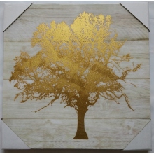 Big gold foil tree canvas painting pictures lacquer wall art