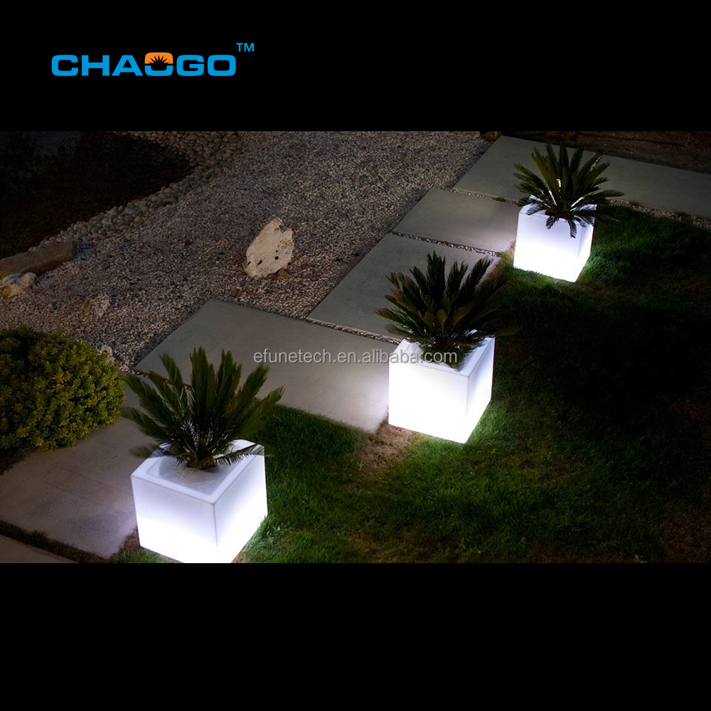 rechargeable battery powered illuminated rgb color changing led planter pot outdoor cube shaped led flower pot with light