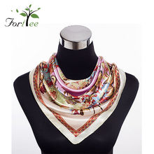 Scarf manufacturers new popular styles elegant flower stripe printing square neck satin ladies scarves