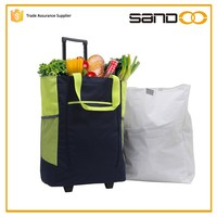 China factory foldable vegetable trolley shopping bag with wheels