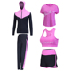 High Waist Pants+Hooded Coat+T Shirt+Bra+Pants Women Yoga 5 Pieces Set Outdoor Running Quick Dry Fitness Gym Clothing Set