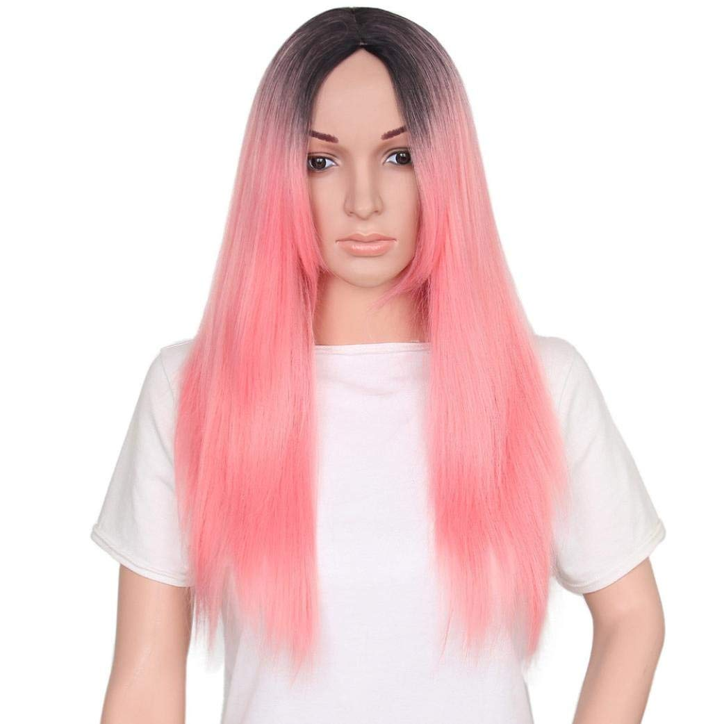 Emubody Women Fashion Lady Long Straight Gradient Color Hair Cosplay Party Wig Sweet Baby Pink Dark Roots Glueless Synthetic Wigs For Women Long Straight Cheap Middle Part Pink Wig Cosplay