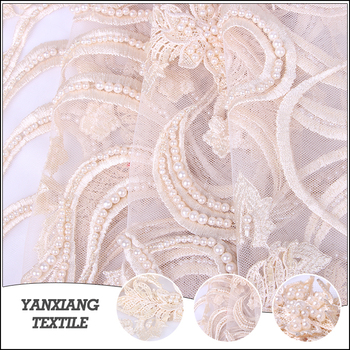 Top end embroidery tulle french crystals bead pearl lace fabric bridal