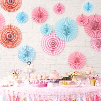 Round Hanging Paper Fans Rosettes Party for Wedding Party Decoration