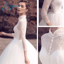 High Quality Crystal Beading Sequined Button Long Sleeve Lace Wedding Dresses China