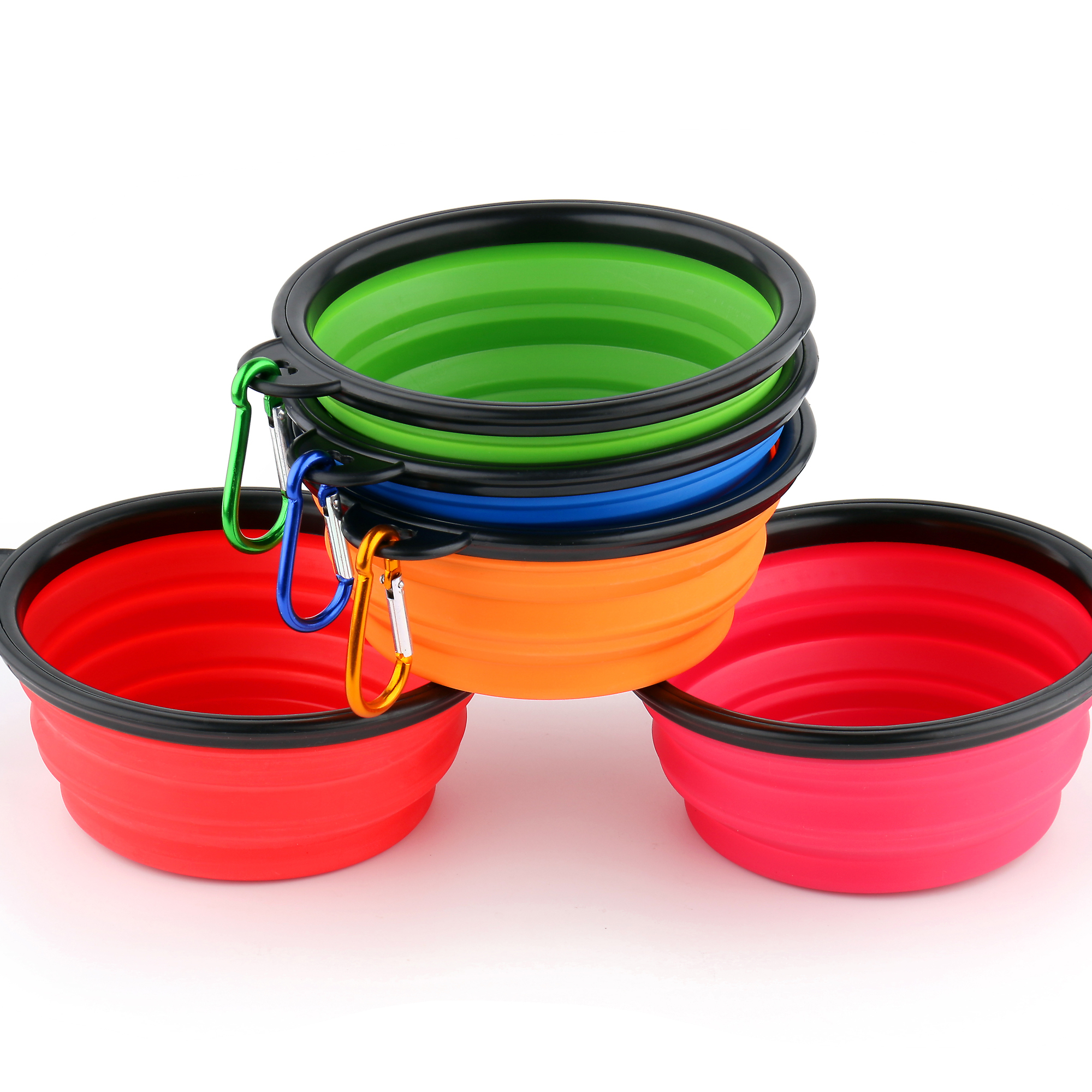 Custom Logo eco-friendly silicone folding collapsible travel <strong>dog</strong> <strong>bowl</strong> with hook portable pet <strong>dog</strong> feeder <strong>dog</strong> dishes