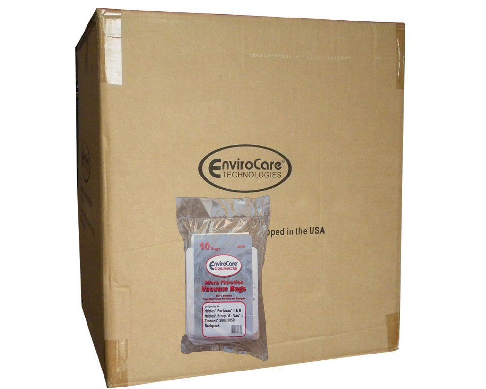1 Case (10 pkgs) Castex, Nobles, Tennant Commercial Allergy Backpack, Canister, Tank Vacuum Cleaner Bags 611780, 613325, Nobles Portapac 1& 2, Nobles Strap-A-Vac II, Tennant, 3000/3050, Castex, 900005 Portapac