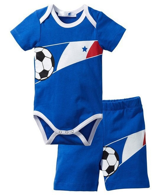 Hot sale 2016 summer football soccer design infant romper + pants baby clothing set active tracksuit
