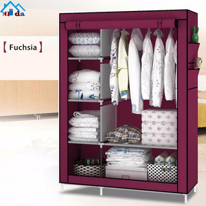 Portable Steel Oxford Fabric cloth rack cabinet Folding Cloth Wardrobe