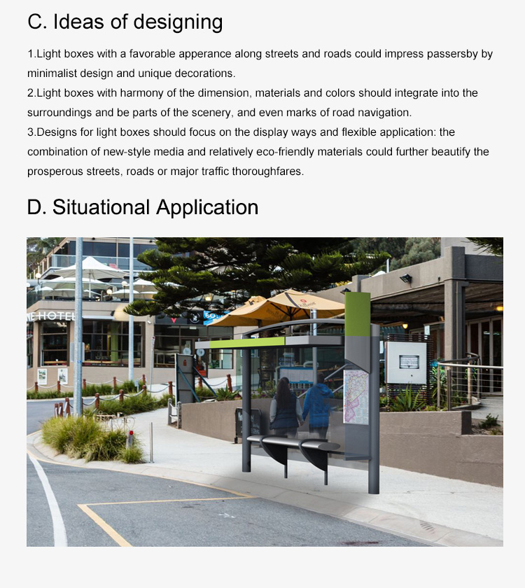 Outdoor high quality LED lighting Metal Bus Shelter design
