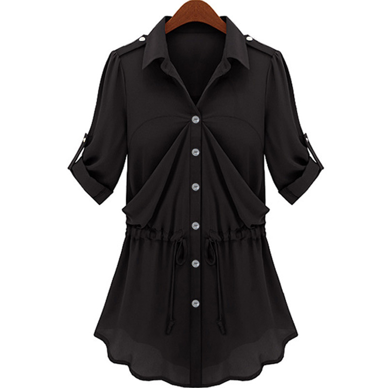 Chiffon Blouse Decorative Front Solid Black Shirts Plus Size Women Comfort Shirts 2015 Summer New Fashion Pleated Hem L 5XL 6XL