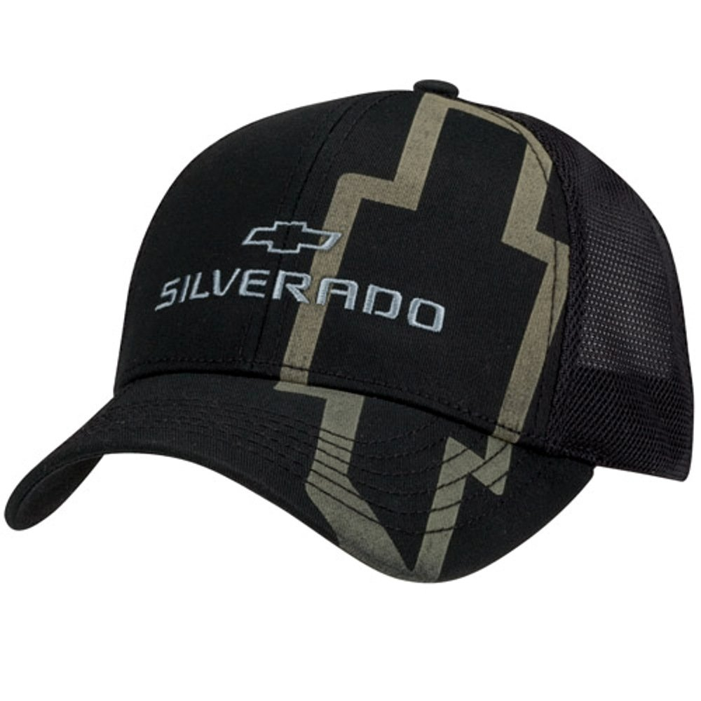 Get Quotations · Chevy Silverado Black Twill   Mesh Hat 81c6ca9d083