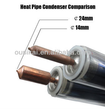 Super conductive vacuum tubes solar heat pipe for pressurized solar water heater