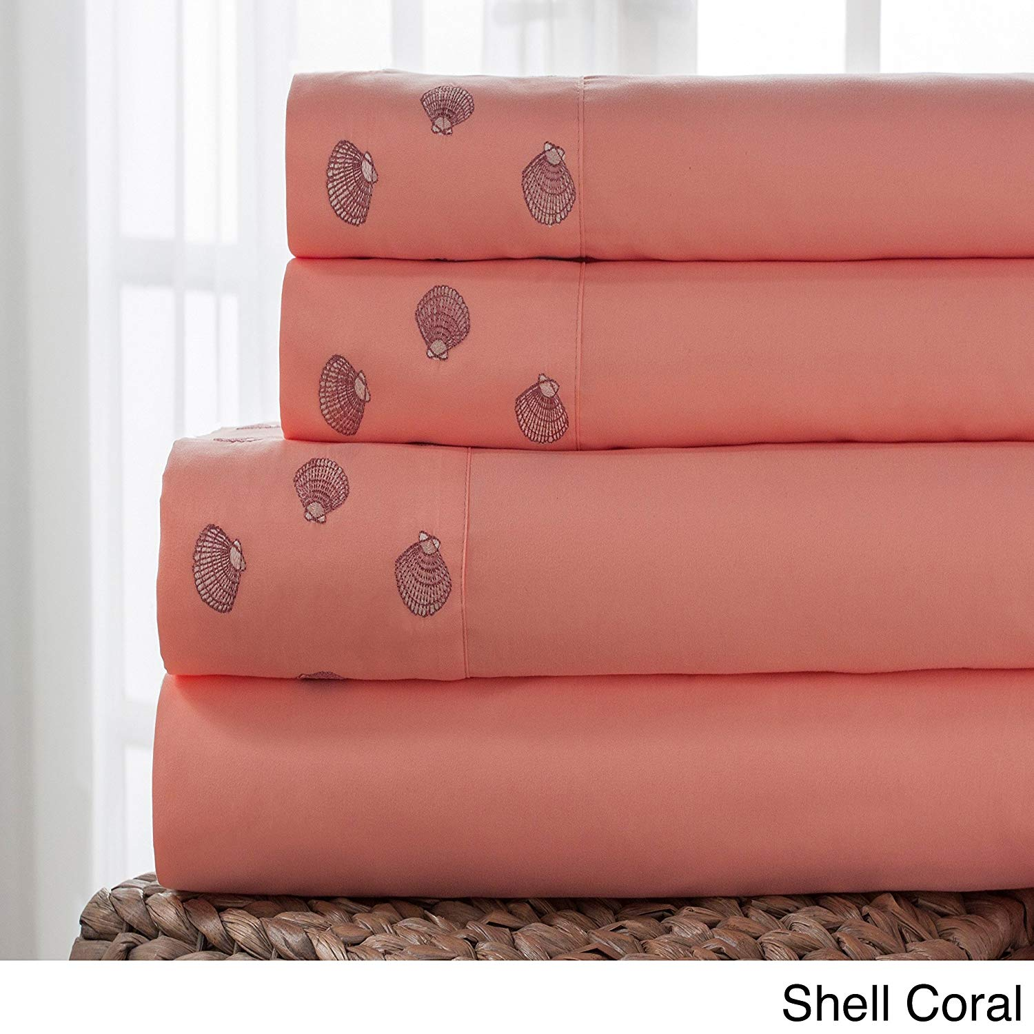CA 4 Piece Off White Pink Coral Sea Shells Sheet Set Queen Sized, Pretty Seashells Bedding Coastal Themed Nautical Sea Ocean Beach Shell Pattern Embroidered, Microfiber Polyester