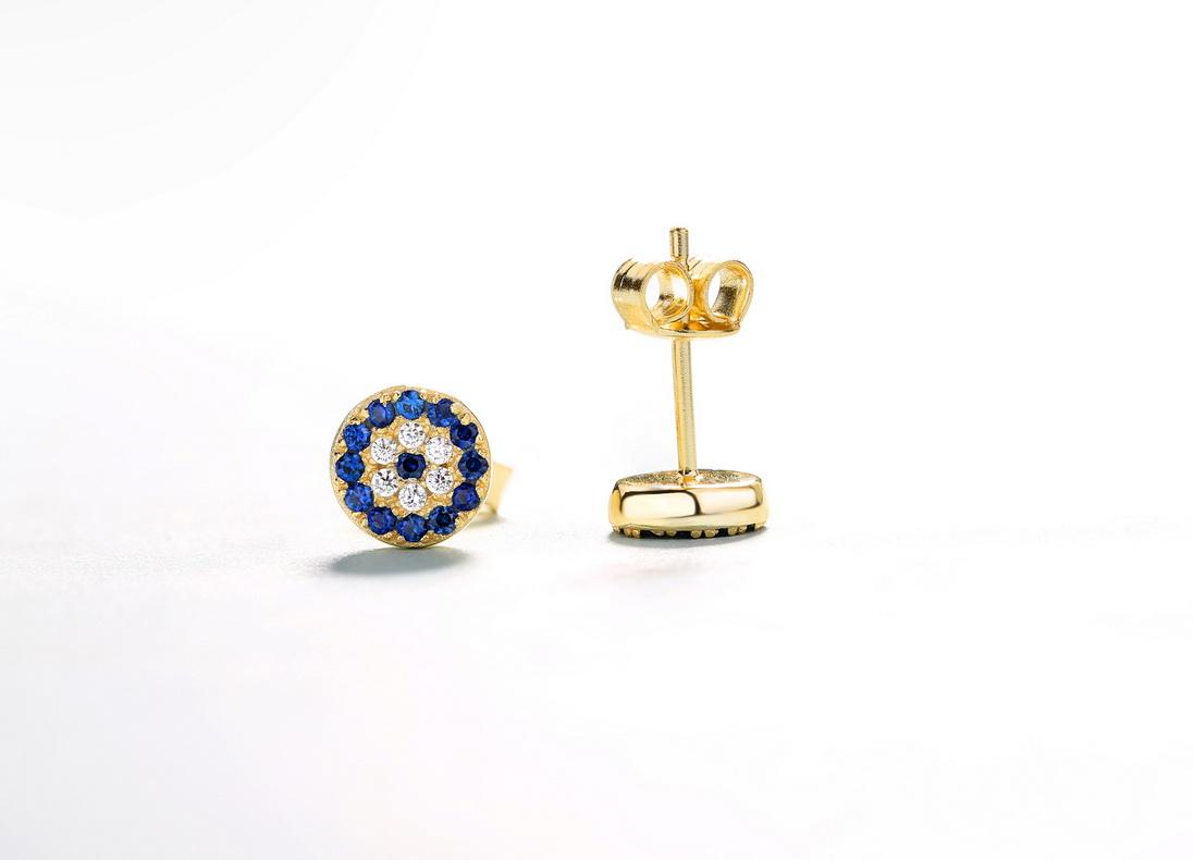 Turkish 925 Sterling silver jewelry CZ diamond evil blue eye stud earrings