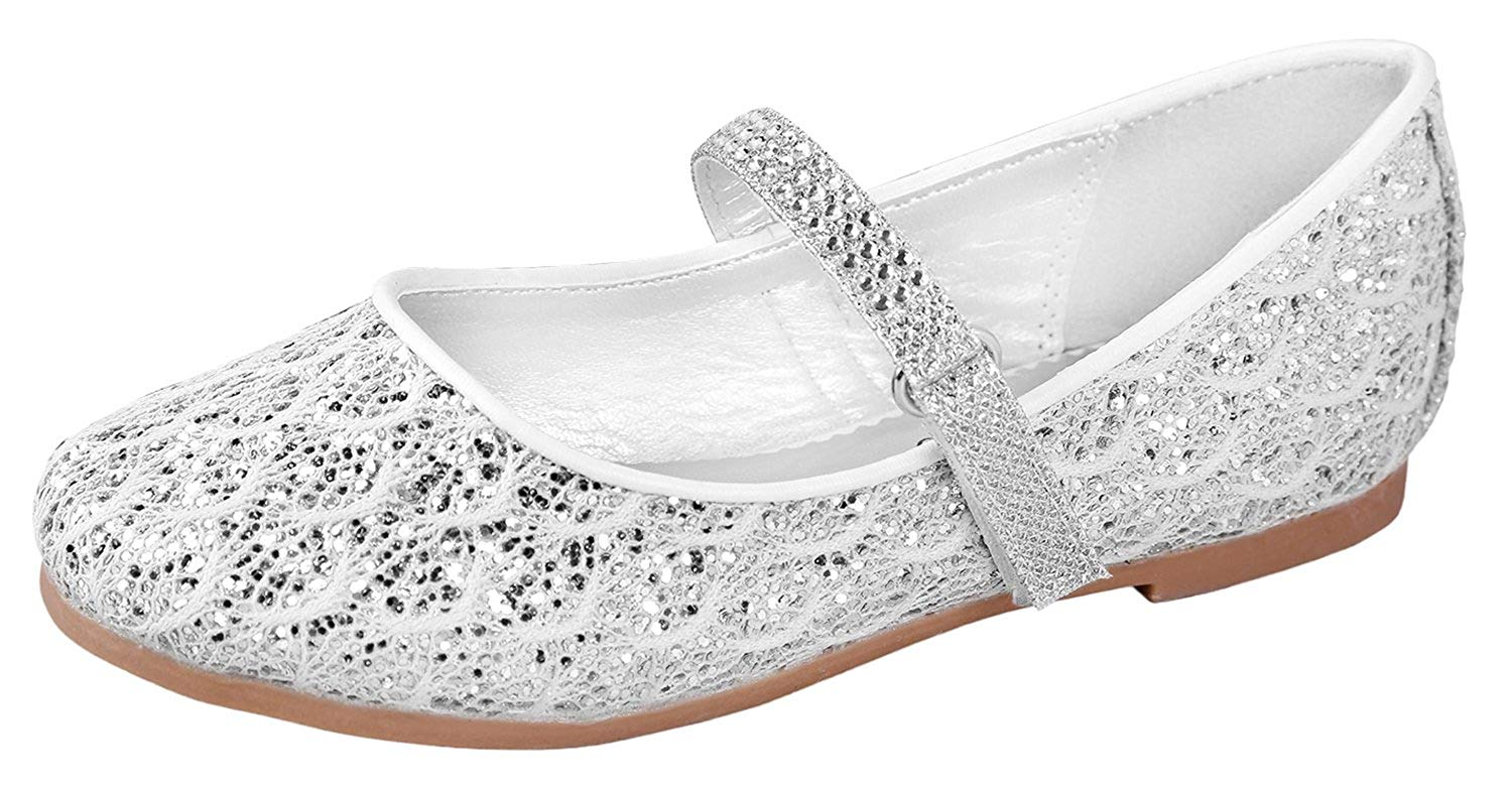 0409824f73ff Get Quotations · Little Angel Britt Lacy Glitter Dress Flats For Girls