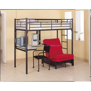 Odmoem Twin Over Desk And Futon Metal Bunk Bed With ChairBlack