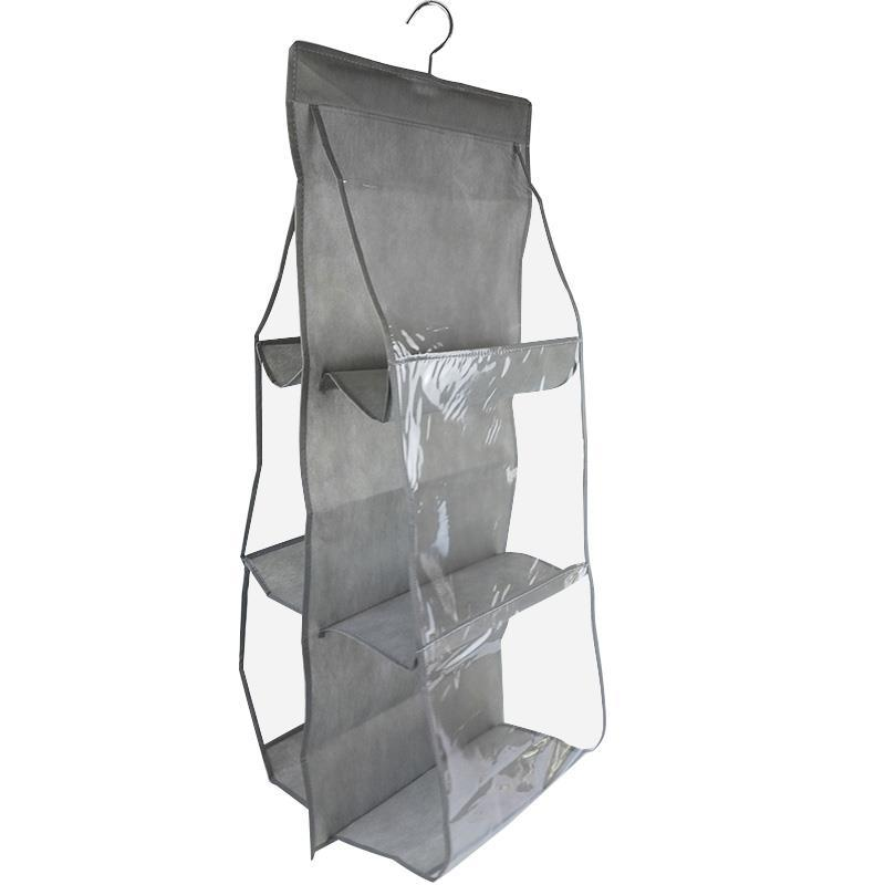 Home Storage Double-sided six-layer multi-layer Display shelf dustproof metal hanger non-woven grocery organizer hanging bag