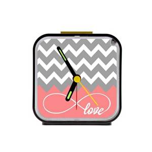 Love Infinity Forever Love Symbol Chevron Pattern Pink Grey White Square Black Alarm Clock 100% Quartz