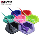 Colorful professional rainbow hair salon tint bowl and brush set