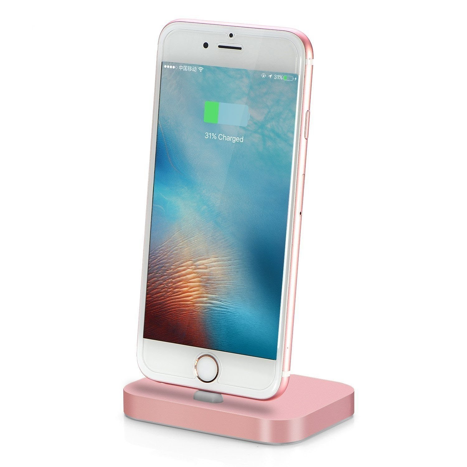 Apple iPhone Lightning Charging Stand Dock Station for iPhone 7/7 Plus/SE/5/c/s/6/6s, 6/6s Plus/iPod Nano 7th Gen/iPod Touch 5,6th Gen, Aluminum Charger Cradle for Charge and Sync Data (Rose Gold)
