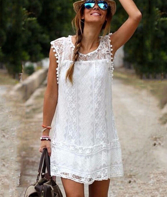 KEYIDI European and American white lace elegant sleeveless dress