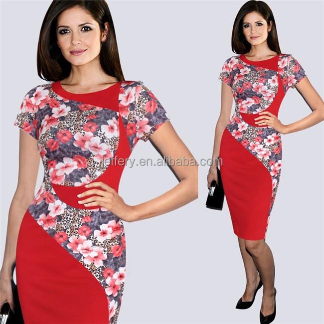 Elegante vestido nuevo estilo combinación flores vestido estampado con real  pics h049