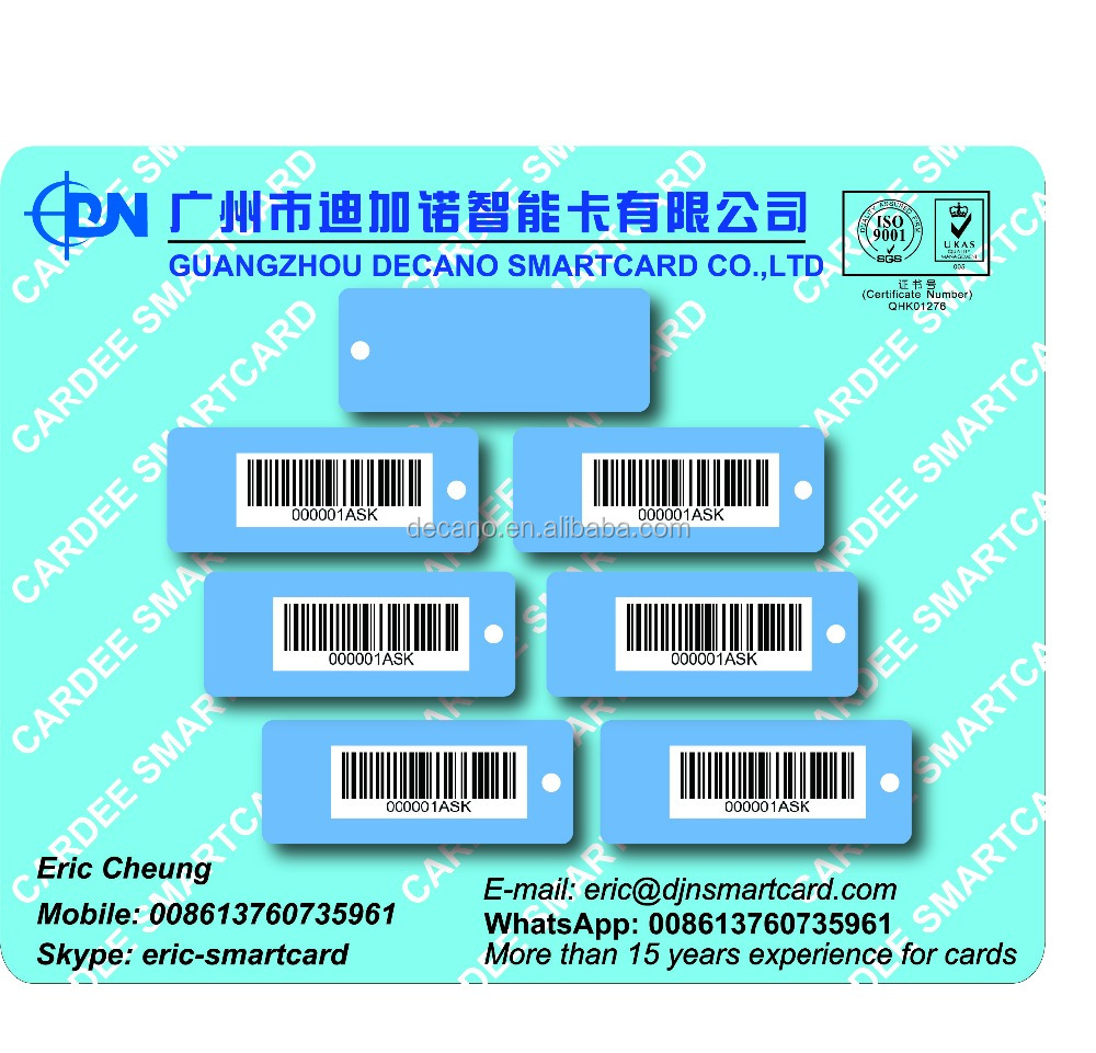 High quality plastic membership barcode number card with key tags